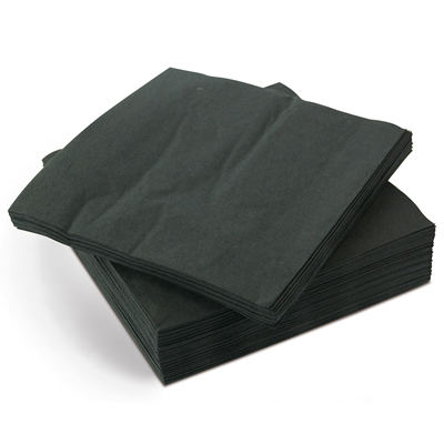 Cocktail Napkins, 2 ply Black, 24 cms square (4000 per box)
