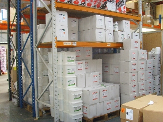 One our many racks of cleaning supplies in our Leicester based shipping facility